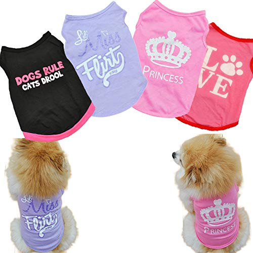 Sebaoyu 4 Pieces Dog Clothes for Dogs Girl Summer Pet T-Shirts Printed Apparels Puppy Outfits Cute Pattern for Small to Large Cat Dog