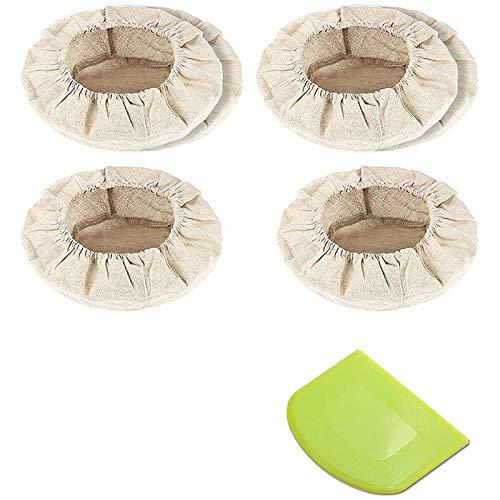 WOVELOT 6 Paquetes de Forro de Lino de Tela para Canasta una Prueba de Pan y Raspador de Masa (Redondo de 10 Pulgadas) para Cuenco para Hornear Pan