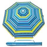 MOVTOTOP 2M Garden Umbrella, Non-Rusting Parasol Umbrella with Tilted Aluminum Crank, Beach Patio