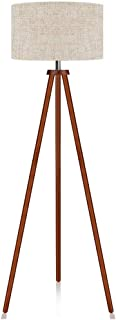 LEPOWER Wood Tripod Floor Lamp, Mid Century Standing Lamp, Flaxen Lamp Shade with E26 Lamp Base, Floor Reading Lamp for Living Room Bedroom, Study Room and Office