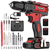 Cordless Drill Driver Kit with 2 Batteries, WAKYME 21V Impact Drill 350 In-lb Torque 25+3 Clutch, 3/8' Keyless Chuck, Variable Speed & Built-in LED Impact Drill for Drilling Wall, Bricks, Wood, Metal