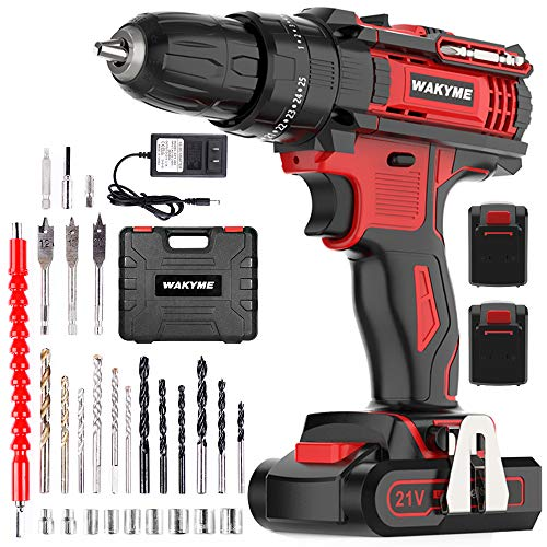 "Cordless Drill Driver Kit with 2 Batteries, WAKYME 21V Impact Drill 350 In-lb Torque 25+3 Clutch, 3/8"" Keyless Chuck, Variable Speed & Built-in LED Impact Drill for Drilling Wall, Bricks, Wood, Metal"