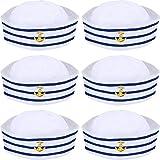 Syhood Sombreros de Azul con Blanca Gorro Marino Marinero para Accesorio de Vestuario, Fiesta de Disfraces (6 Paquetes)
