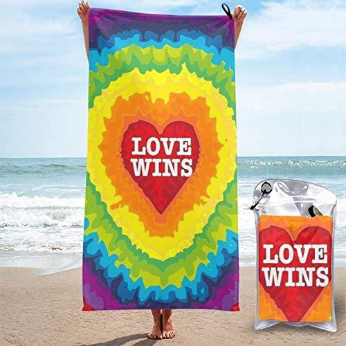Yuanmeiju Toalla Toalla de baño de Secado rápido 3D Printed Tie Dye Love Wins Quick Dry Absorbent Bath Towel Beach Towel
