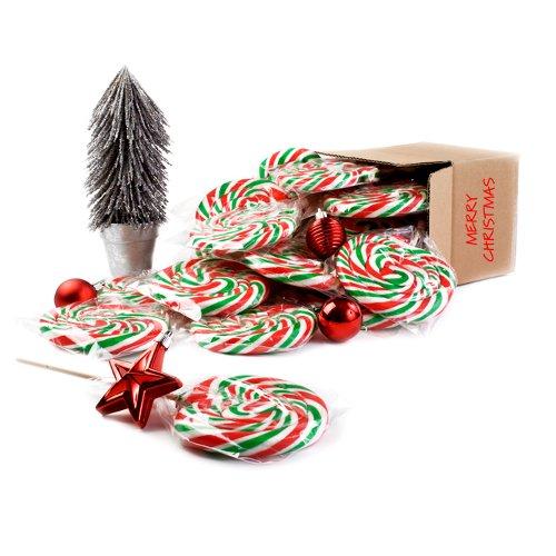 73/5000 UITVERKOOP - Kerstlollys - Groen, Rood en Wit - Pak van 40