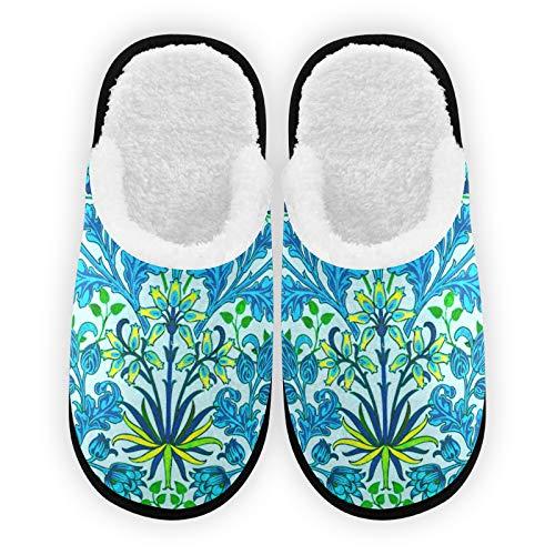 Zapatillas para hombre y mujer, diseño de flores, color azul, forro de felpa, cómodo, cálido coral polar para mujer, para interior y exterior
