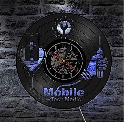 Servicio de reparación de Dispositivos Inteligentes, Letrero de Arte de Pared, Letrero de Taller de reparación de teléfonos móviles, Reloj de Pared, Reloj de Pared de Vinilo médico