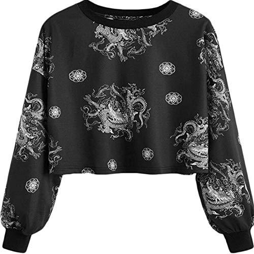 HOSD Estampado murciélago Manga tótem de con con de Camiseta para dragón Negro de Mujer