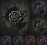KFSG Barco de Ancla Brújula Naval Vintage Decoración de Pared náutica Arte del hogar Reloj de Pared Marineros Disco de Vinilo Reloj de Pared Regalos de navegación Hechos a Mano