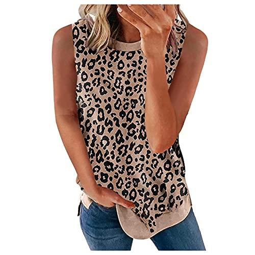 Chaleco de Leopardo sin Mangas Mujeres Camisa y Blusas Cuello Redondo Tops Color Sólido Capa Casual Blusa Suelta Chaleco, Top Verano