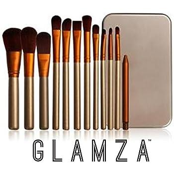 Glamza - Juego de 12 pinceles de maquillaje con estuche de metal, color dorado y blanco: Amazon.es: Belleza