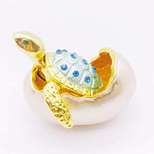 Gishima Hand Painted Small Sea Turtle Trinket Box Hinged Jewelry Boxes Collectible Figurines for Unique Gift or Home Decor