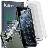 Ferilinso [6 Pack] 3 Piezas Protector de Pantalla para iPhone 11 Pro MAX Cristal Templado + 3 Piezas Protector cámara iPhone 11 Pro MAX Protector de Lente de Cámara [9H Dureza]