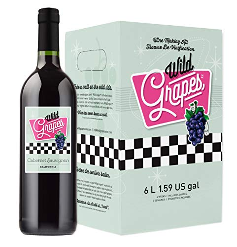 Wild Grapes, Premium DIY Wine Making Kits, California Cabernet Sauvignon, 6L, Makes Up to 30 Bottles/6 Gallons of Wine
