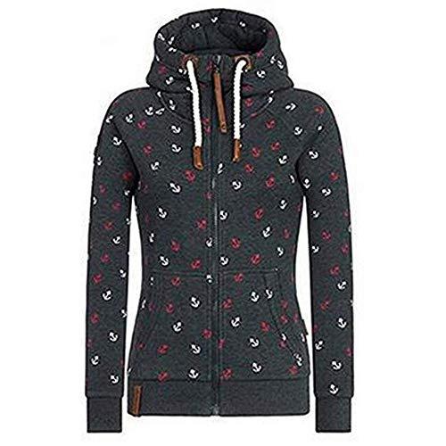 Newbestyle Jacke Damen Sweatjacke Hoodie Sweatshirt Oberteile Damen Pullover Kapuzenpullover Pulli mit Reissverschluss (Schwarz, XXL)