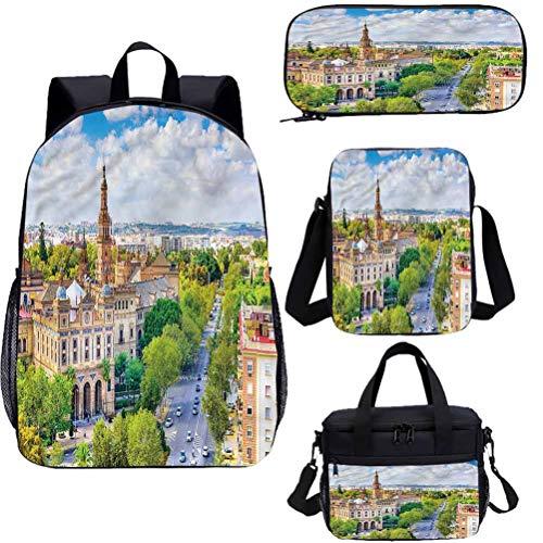 Juego de bolsas escolares para niños de 15 pulgadas, Sevilla España Cityscape School Bags Set para trabajo, escuela, viajes, picnic