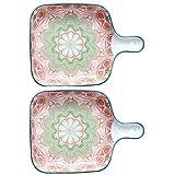 Juego de utensilios para hornear, plato para hornear de 9 pulgadas, platos cuadrados para hornear de cerámica esmaltada con un solo mango, juego de 2, pastel, cena, banquete y uso diario (Verde rojo)