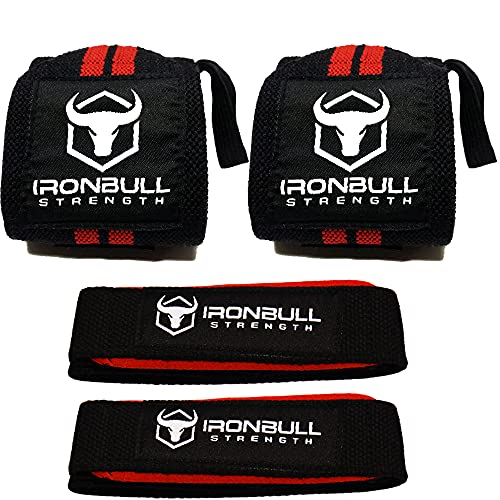 Iron Bull Strength Wrist Wrap And Lifting Straps Combo
