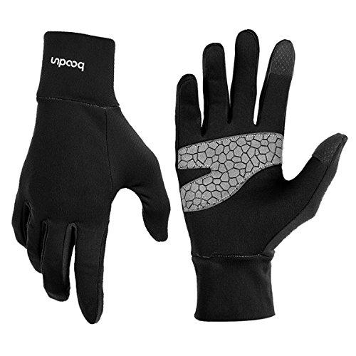 Leichte Sporthandschuhe Laufhandschuhe WARM UP von Boodun Running Handschuhe Unisex Sport Slim Walking Handschuhe für Damen und Herren mit Touchscreen-Funktion und Anti-Rutsch Funktion - Schwarz - S/M