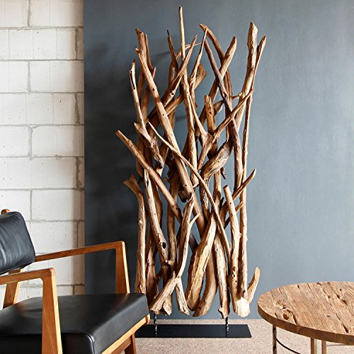 Möbel Bressmer Teakholz Raumteiler Ranting | Hochwertiger Teak Paravent Holz Aeste Natur für Büro, Kantine, Wohnzimmer | Trennwand Holz Holzoptik |