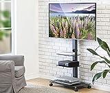 FITUEYES Chariot Meuble TV avec Roulette Support Télé Pied Pivotant pour Ecran de 32 à 65 Pouces LED LCD Plasma avec 3...
