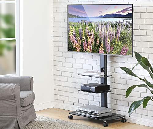 FITUEYES Supporto TV, Mobile TV, con Ruote, con Staffa in Vetro, Girevole, Regolabile in Altezza, da 32 a 65 pollici LCD LED, Porta TV, Portata Max 40kg, TT306503GB