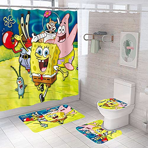 """ZYXP Spongebob Shower Curtain Sets with 12 Hooks, Sponge Square Pants and His Friends with Non-Slip Rugs, Toilet Lid Cover and Bath Mat, Durable and Waterproof, Bathroom Decor, 72"""" X 72"""""""