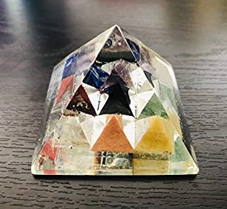 CRYSTALMIRACLE Chakra Reiki Orgonite Pyramid 120 Grams Crystal Healing home office gift wellness positive energy peace med...