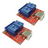 2チャネルUSBリレーモジュールHIDドライブなしUSBリレーコンピューター制御5V 2PACK