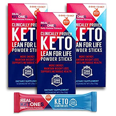 Real Ketones Lean for Life (Prime D+) 30 Packets Exogenous Keto D-BHB + MCT Drink Mix Powder with Electrolytes, Orange Blast, Ketosis in 1 Hour