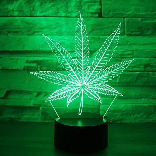 3D LED Nachtlicht Hanfblatt mit 7 Farben Licht für Hauptdekoration Lampe Erstaunliche Sichtbarmachung Optische Täuschung Ehrfürchtig