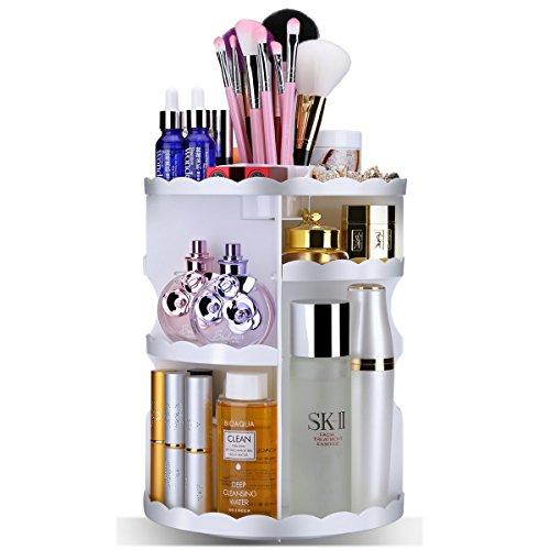 Cosmétique Organiseur Emocci Maquillage support rotatif à grande capacité de stockage Ship Lot pour brosse Bijoux Make Up Accessoires écran de salle de bain Meuble Comptoir Homme (rond Blanc)