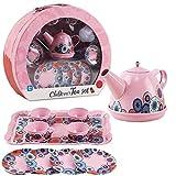 deAO 14 Piece Die-cast Pretend Role Play Tea Set & Portable Carry Case (Pink Tea Set for Children)