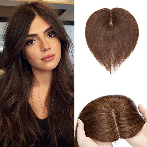 SEGO 120% Density Silk Base Top Hair Pieces Crown Topper 100% Remy Human Hair Clip in Hair Toppers Top Hairpieces for Women with Hair Loss Thinning Hair Cover Gray Hair #4 Medium Brown 14inch 45g
