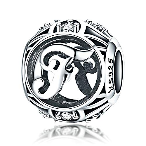 Initial A-Z Alphabet Charm Letter Charm 925 Sterling Silver Charms Dangle Charm for Bracelet Fits European Necklace Compatible Mothers Day Gift With Box (F)