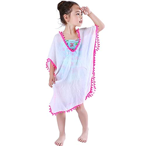 72a7bdcf93e MissShorthair Fashion Girls' Cover-ups Swimsuit Wraps Beach Dress Top with  Pompom Tassel