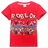 T-shirt Pour enfants Avec motif Roblox Respirant En coton - Rouge - Taille Unique