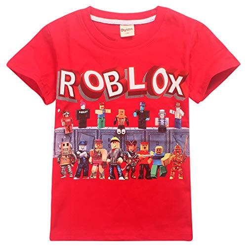 Camiseta Roblox de algodón transpirable para juegos en familia, juegos en equipo para niños y niñas, parte superior de pijama Rojo Rojo3 11-12 Años