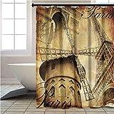 Cortina de ducha con ganchos de la Torre Eiffel Parisina Arquitectura Cortina de baño con ganchos de 182 x 213 cm