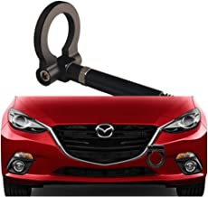 DEWHEL JDM Aluminum Track Racing Front Bumper Car Accessories Auto Trailer Ring Eye Towing Tow Hook Kit Screw On 2014-up Mazda3 2014-up Mazda6 2013-up Mazda CX-5 2016-up Mazda MX-5 (Black)