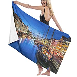 Oversized Microfiber Beach Towel,Entertainment District Denmark Nyhavn Canal C,Soft Lightweight Absorbent Bath Towel for Swimming,Sports, Pool,Gym,Camping (52×32inch)