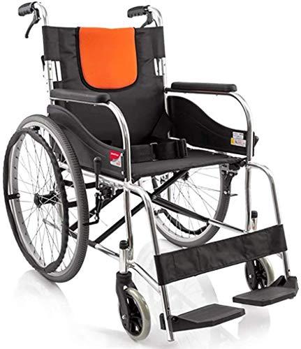 Rolstoel, inklapbare rolstoel met eigen aandrijving, afneembare voetsteunen, lekbestendige armleuning, draagbaar