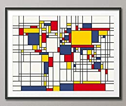 Les Connie Map of The World Map in The Style of Piet Mondrian Art Print