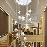 MHBGX Lampadario, 10 Sfere Di Vetro Lampadari per Scale Sfera Di Vetro Soiorno Moderno Lampada a Sospensione Villa Lampada da Soffitto Appartamento Duplex Scale a Chiocciola Lampadario Lungo, 40 * 20