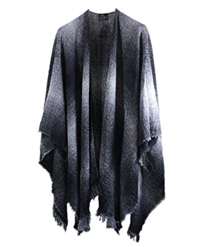 Wrap, Ruana Wraps for Women, Wool Shawl, Irish Gifts for Her, Biddy Murphy, Made in Ireland, 85% Lambswool, 54' X 72', Soft, Lightweight, Warm, Charcoal