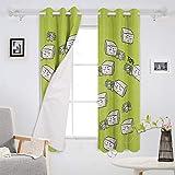 NUEVO-HOPE - Cortinas de decoración de alimentos para sala de estar, ventana de dormitorio, cortinas con ojales, 2 paneles de 132 x 182 cm, bonito tofu de dibujos animados verde natural