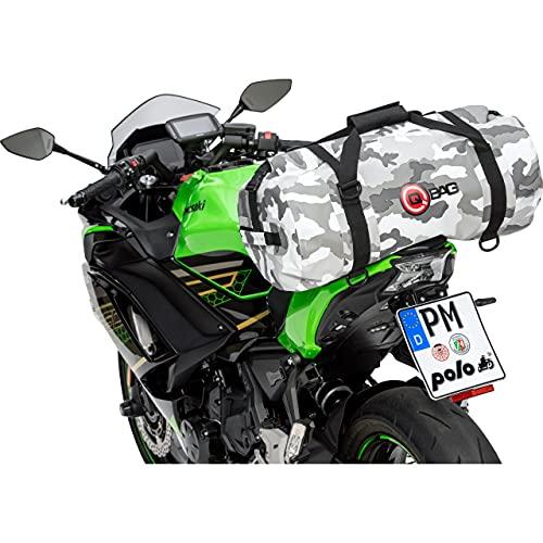 QBag Hecktasche Motorrad Motorradtasche Hecktasche/Gepäckrolle wasserdicht 45 Liter Camouflage, Unisex, Multipurpose, Ganzjährig, PVC, grau