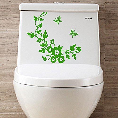 Ruimin Papillon fleur vigne salle de bains stickers muraux décoration stickers muraux pour autocollant de toilette