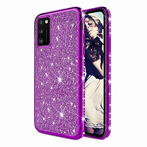 TYWZ Strass Hülle für Samsung Galaxy A41,Glitzer Diamant Glanz Bling Mädchen Case Cover Ultra-Slim Stoßfeste Anti-Rutsch Silikon Schutzhülle-Lila