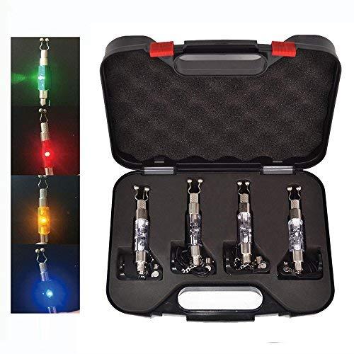 Hirisi Tackle® – Beleuchtete Swinger zum Angeln von Karpfen, Bissanzeiger, 4 Stück, Rot/Gelb/Grün/Blau, in Koffer, mit Stecker für Anbissalarm